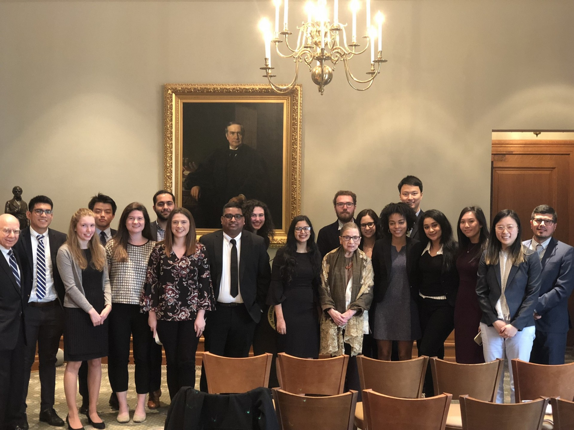 2018 Portrait of Justice Ruth Bader Ginsburg and students at the U.S. Supreme Court