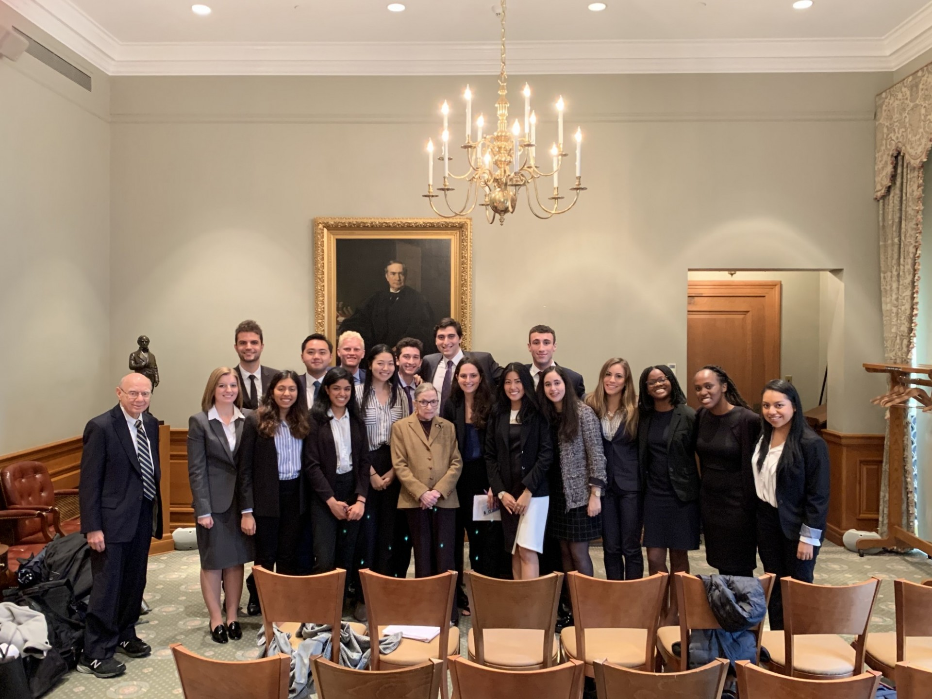 2019 Portrait of Justice Ruth Bader Ginsburg with students at U.S. Supreme Court